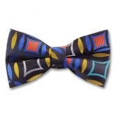 Blue Woven Bow Tie With Multi Coloured Abstract Geometric Design